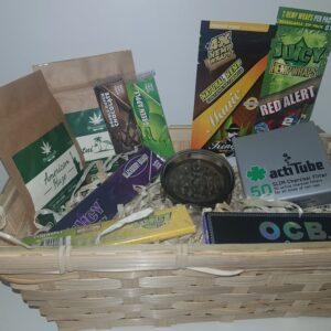 Zestaw prezentowy - Susze konopne, bletki smakowe mix, bletki konopne, młynek akrylowy, filtry węglowe, bibułki OCB + filtry tips