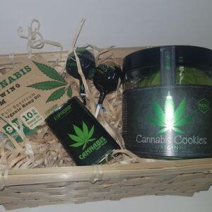 Zestaw prezentowy - Lizaki cannabis, ciastka konopne Original, dropsy konopne, guma do żucia z olejem konopnym
